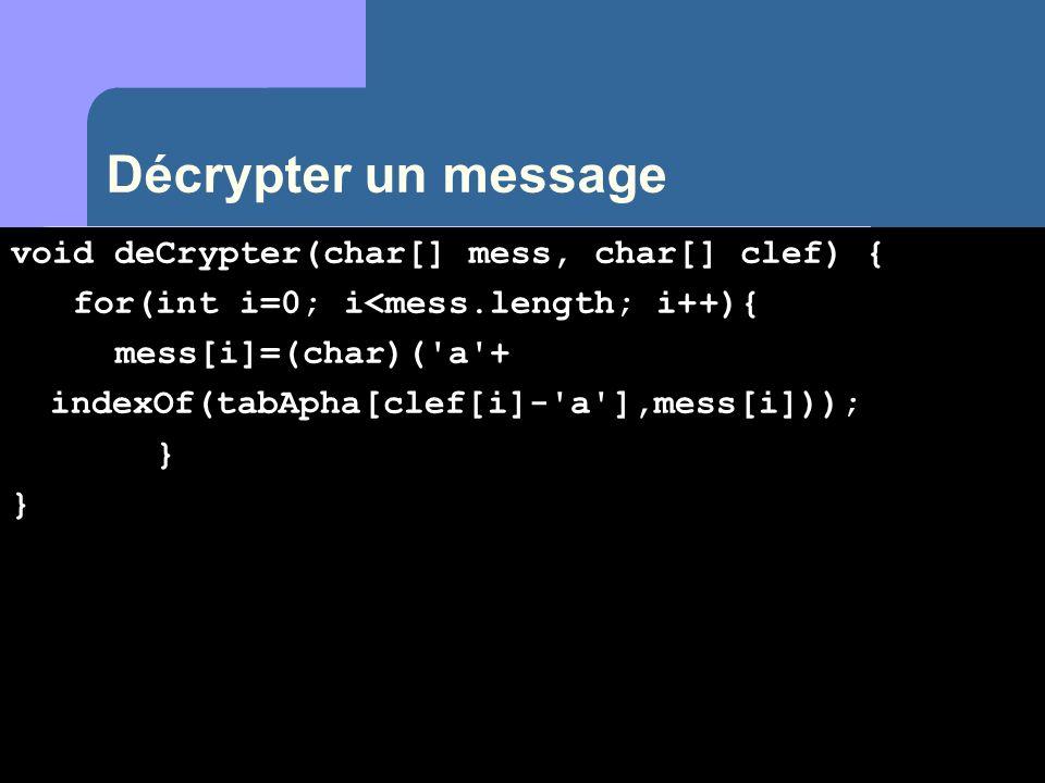 Décrypter un message void deCrypter(char[] mess, char[] clef) {